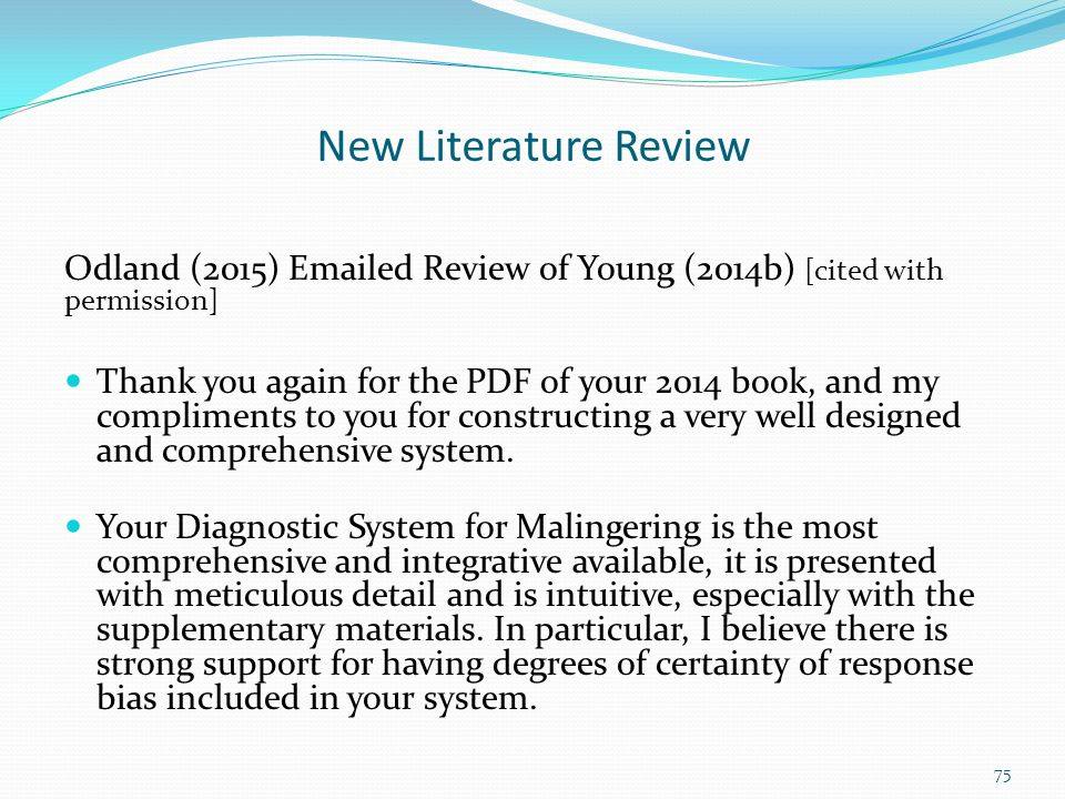 New Literature Review Odland (2015) Emailed Review of Young (2014b) [cited with permission]